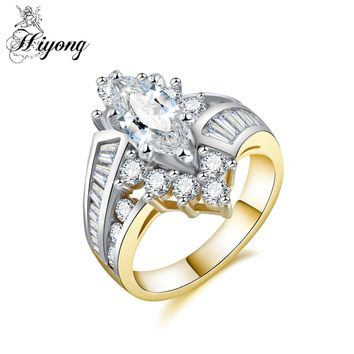 HIYONG Double Rows Trapezoid&Round&Marquise Cubic Zirconia Sparkling Royal Ring for Women Art Deco Filigree Wire Warpped Jewelry
