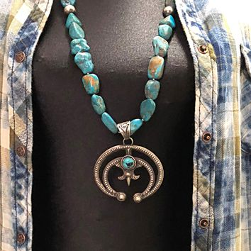 Chelsea Collette Collection Turquoise Squash Blossom Necklace
