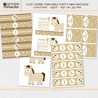 Horse birthday, cute horse party printables, horse themed invitation and party decoration package: water bottle lable, food tent, labels