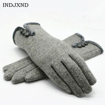 INDJXND Winter 2017 Fashion Wrist Gloves Cashmere Opening 3 Buttons  Autumn Mittens Womens Warm Gloves Full Finger High Quality
