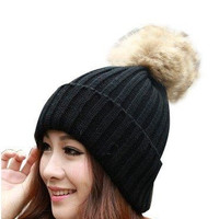 New High Grade  Fur Ball Decorate Hats For Women Knitted Caps For Winter = 1931716100