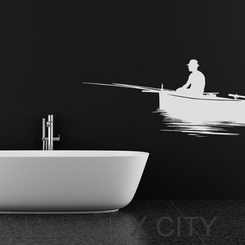 Fisherman Silhouette WALL ART STICKER VINYL DECAL DIE CUT BATH ROOM STENCIL MURAL HOME DECOR