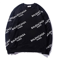 Balenciaga fashionable printed hoodies with round necks and long sleeves are hot sellers for casual couples Black