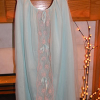 Vintage 1960s Avian  Night Gown .Aqua blue & Ecru Lace .Baby Doll Slip Dress.Plus Size XXL.Union Made