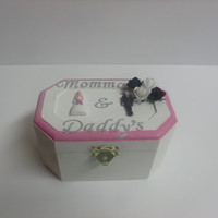 Ring Bearer Box In Ivory and Pink With White and Black Accents and Silver Lettering