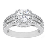 Engagement Ring - Round Diamond Halo Three Row Vintage Style Split Band Engagement Ring 0.58 tcw. In 14K White Gold - ES449