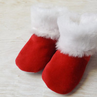 Infant soft sole slippers, crib shoes, red and white Christmas baby booties, Santa slippers, toddler slippers