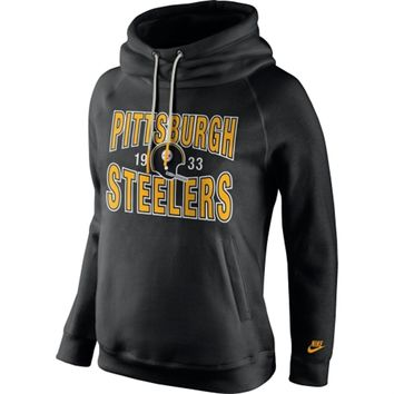 Women's Pittsburgh Steelers Nike Black Rewind Rally Funnel Hoodie