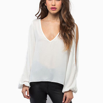 White V-Neck Lace Cut-Out Back Ripped Long Sleeve Chiffon Blouse