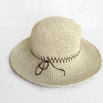 Summer white straw hats for women Crochet summer hat Beach wide-brimmed hats White summer in raffia hat with a wide brim Floppy straw hat