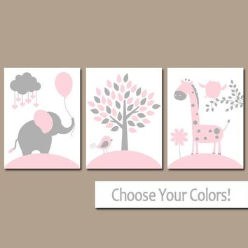 PINK GRAY Nursery Wall Art,CANVAS or Prints,Girl Jungle Animals,Baby Elephant Nursery Pictures,Elephant Giraffe Tree,Crib Decor,Set of 3