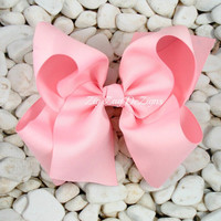 "Light Pink Boutique Bow - Beautiful Huge Bow Made with 3"" Ribbon"