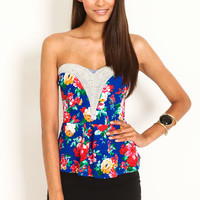 FLORAL PEARL PLUNGE PEPLUM