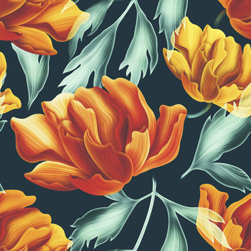 Fiery Florals Removable Wallpaper