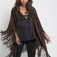 Muche et Muchette Large Suede Cut Out Details Shawl