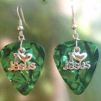 I Love Jesus Fish Earrings, Christian Guitar Pick Jewelry, Custom Pierced or Clip On, Religious Dangling Light Weight
