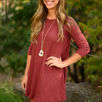 By the Fireside Sweater Dress - Wine