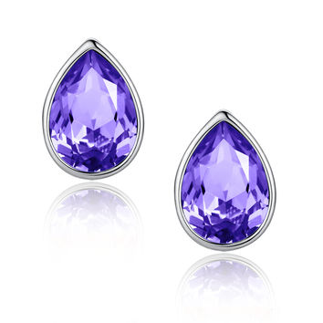 Eternal Love Teardrop Swarovski Elements Crystal Stud Earrings - Violet Purple