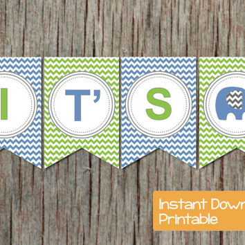 Baby Shower Decorations Banner Elephant Blue Green Baby Shower Supply INSTANT DOWNLOAD Chevron Its a Boy Printable DIY Party Decor 016