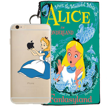 Disney's Alice in Wonderland Holding Logo Clear Case For Apple Iphone 5/ 5s /SE + Pouch
