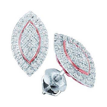 10kt White Gold Womens Round Diamond Cluster Oval Rose-tone Stud Earrings 1/5 Cttw