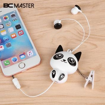 BCMaster For Cartoon 3.5mm Wired Retractable In-Ear Headset MP3 Earphones Earbuds Lovely Panda Cat Style