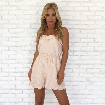 Over the Hill Embroidered Romper in Cream