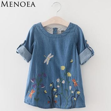 Menoea 2018 Girls Denim Dress Children Clothing Spring Summer Style Girls Clothes Butterfly Embroidery Dress 3-7Y Kids Clothes