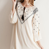 Embroidery Detail Shift Dress - Natural