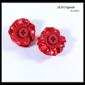 Red Button Earrings - Red Polka Dot Button Ribbon and Felt Clip On Earrings - Repurposed Embellishment Earrings - Womens Fashion Jewelry