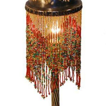 Beaded Brass Table Lamp | Wunderley Middle Eastern Wood Mosiac Furniture