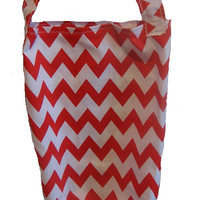 Red and White Chevron Stripe Fabric Plastic Bag Holder Small Size