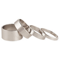 Set of 4 Thin & Wide Silver Band Rings