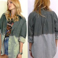 Redesigned Ombre Plaid Boyfriend Shirt/ Jacket One size