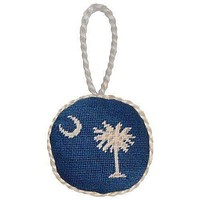 South Carolina Flag Needlepoint Christmas Ornament in Blue by Smathers & Branson