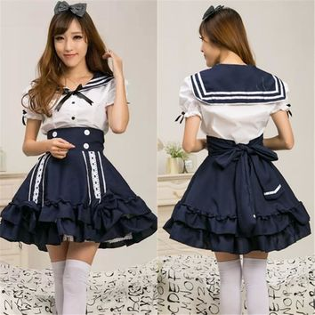 Princess Cosplay Sailors Lolita Dress Japanese School Uniform Sleeveless Anime Girl Sailor Lolita Dress Cosplay Costume B-3923