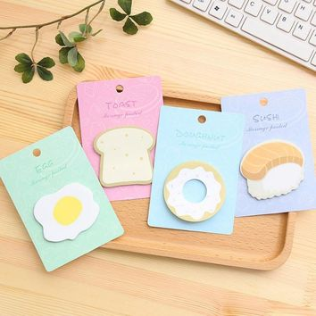 Novelty Fresh Style Breakfast Memo Notepad Notebook Memo Pad Self-Adhesive Sticky Notes Bookmark Promotional Gift Stationery