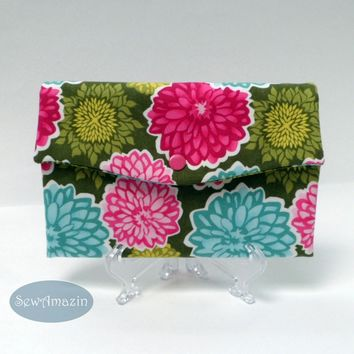Dahlia and Aster Blossoms Womens Trifold Wallet, Credit Card Holder, Checkbook Wallet