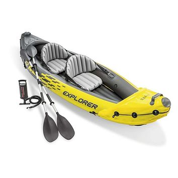 K2 2 Person Inflatable Kayak Set and Air Pump, Yellow