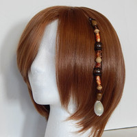 """Beach themed or Pirate - Wooden Beads, Shells and Brown """"Sea Glass"""" Hat or Hair Clip / Extension"""