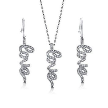 "Micro Pave Cubic Zirconia CZ 925 Sterling Silver Cursive ""Love"" Script Pendant Necklace And Dangle Earrings Matching 2 Pc Set #vs136"