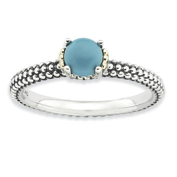 Sterling Silver & 14k Stackable Expressions Turquoise Antiqued Ring