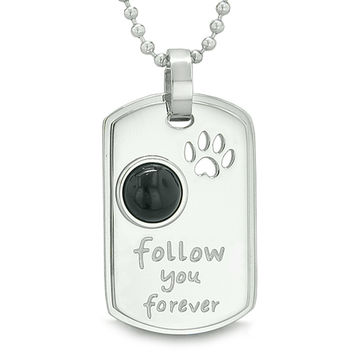 Follow You Forever Wolf Paw Amulet Dot Tag Positive Energy Simulated Black Onyx Pendant 18 inch Necklace