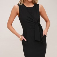 Zealous Love Black Tie-Front Midi Dress