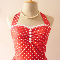 Red Dress Tea Length Dress Classic Red Polka Dot by Amordress