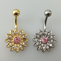 Honbay 2PCS New Belly Button Rings Crystal Rhinestone Flower Jewelry Navel Bar Body Piercing
