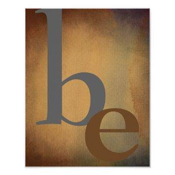 typography poster be gray brown watercolor