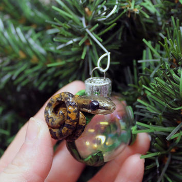 Ball Python Christmas ornament glass ball Polymer clay