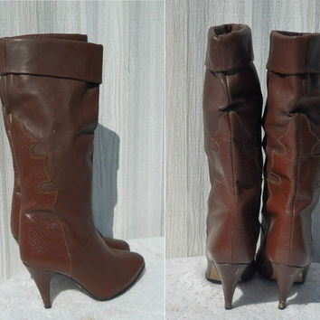 Boho Chic Boots Tall Boots High Heel Boots Rust Boots Brown Leather Boots Womens Boots 70s Boots Fashion Boots Indie Boots Mid Calf Boots