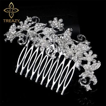 TREAZY Romantic Designs Floral Bridal Crystal Hair Combs Wedding Hair Jewelry for Women Bride Hairpins Hair Accessories
